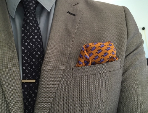 Instagram – Monday #ootd with #atlasdesign yellow elephant #pocketsquare and flower patterned #tie